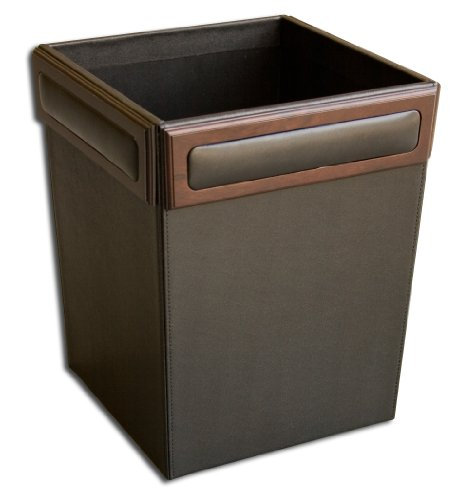 Dacasso Walnut and Leather Waste Basket by Dacasso