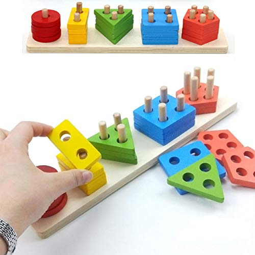 Littolo Wooden Educational Preschool Toddler Toys for 1 2 3 4-5 Year Old Boys Girls Shape Color Recognition Geometric Board Blocks Stack Sort Kids Children Non-Toxic Toy and Safe to Use