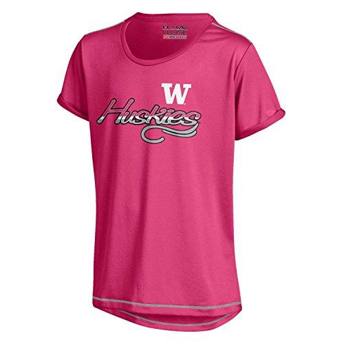 NCAA Washington Huskies Youth Girl's Tech Tee, Pink, Small