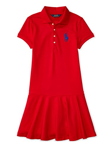 Ralph Lauren Girls Red Big Pony Ruffle Polo Dress (Xtra Large 16)