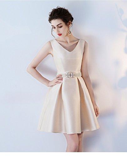 Satin Grun für ärmellos Chamapagner Ausschnitt Elegantes Kurz Mädchen Abendkleider Perlen V Ballkleider Aiyana qvftSa7wx