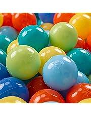 KiddyMoon Plastic Ballen Voor Kinderen Ø 7 Cm Kleurig Gecertificerd Gemakt In EU, Licht Groen-Oranje-Turkoois-Blauw-Babyblue-Geel,700 Ballen