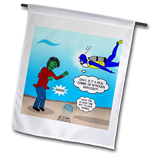 (3dRose Rich Diesslins Funny Out to Lunch Cartoons - Underwater Zombie or Scuba Diver Nitrogen Narcosis - 12 x 18 inch Garden Flag)
