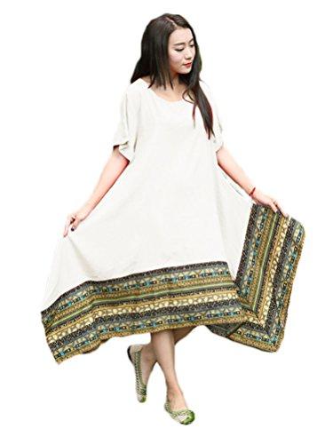 Linge De Coton Ethnique Occasionnel Des Femmes Soojun Robes Tunique Mouchoir Blanc 1