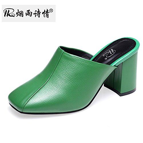 green Pies Puso 7 Zapatos Mujer Verano Cm SFSYDDY Baotou Cool De Zapatillas Tacon De Zapatos Talón Los Zapatillas Alto 0qX8RU