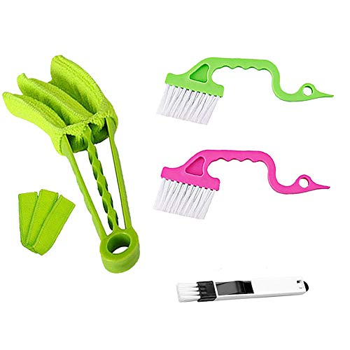 Michael0625 4 Piece Window Blind Cleaner Duster Tool Mini Brush Bundle Kit Microfiber Dust Cloth Sleeves Clean Venetian Blinds, Shades, Wooden Shutters, Air Conditioner w/Groove Gap + Track Cleaning