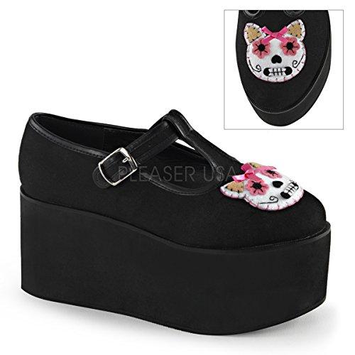 Click-04-1 Schoen met T-bandje en plateau met kattenkop van vilt met satijn strikje zwart suede - Gothic Glam