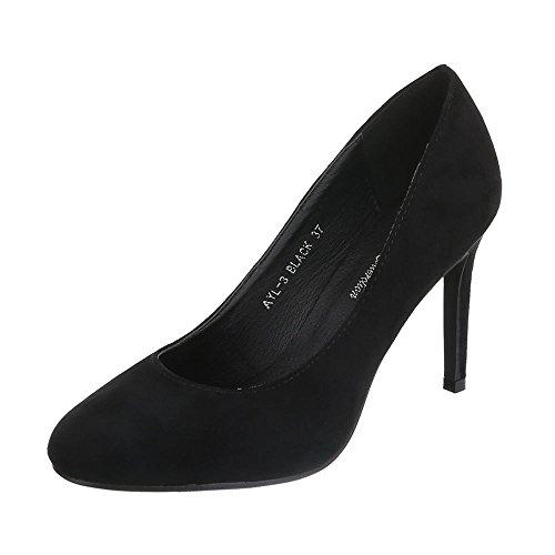 Ital-Design High Heel Pumps Damenschuhe High Heel Pumps Pfennig-/Stilettoabsatz High Heels Pumps Schwarz AYL-3