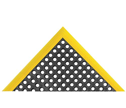 "Superior Manufacturing Notrax 40"" X 124"" Black And Yellow 7/8"" Thick Rubber Safety Stance Wet/Dry Area Safety/Anti-Fatigue Floor Mat With Beveled Border On 3 Edges, Package Size: 1 Each"