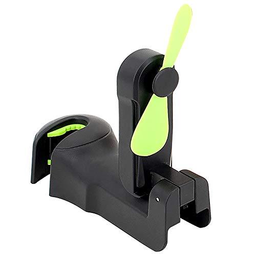 Car Headrest Hooks with Fan, Car Seat Back Mount Plastic Hook Cooling Fan Hanger, Universal Car Vehicle Back Seat Headrest Hanger Holder Hook for Bag Purse Cloth Grocery (Black -Set of 2)