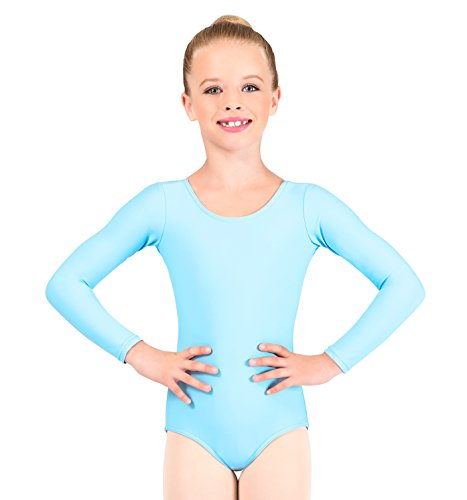 Child Long Sleeve Dance Leotard,D5103CWHTL,White,Large (White Discount)
