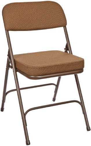 National Public Seating 3200 Series Steel Frame Upholstered Premium Fabric Seat and Back Folding Chair with Double Brace, 300 lbs Capacity, Antique Gold/Brown (Carton of 2)