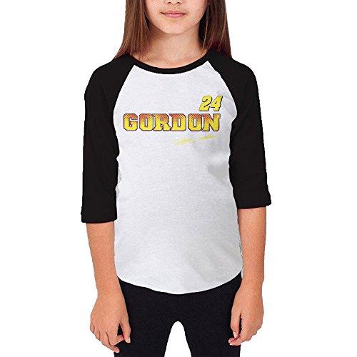 [MJJY Youth Girls Jeff Gordon-nascar Raglan 3/4 Sleeve T-Shirt Black Size XL] (Nascar Tony Stewart Costumes)