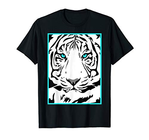 - White Bengal Tiger With Blue Eyes Close Up Graphic Art T-Shirt