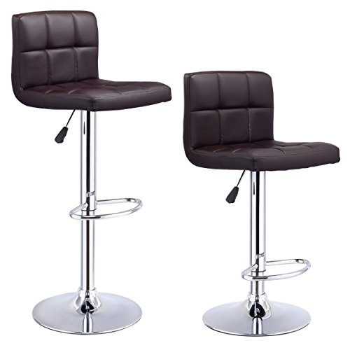 Costway Set Of 2 Swivel Black Bonded Leather Barstool Adjustable Hydraulic Bar Stool (Bonded Leather Stool)