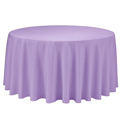 VEEYOO Tablecloth 120 inch Round Table Cloth Solid Polyester Table Cover for Wedding Restaurant Party Bridal Shower Kitchen Decoration Washable, Lavender ()