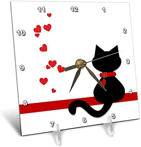 3dRose dc_164791_1 Pet Lovers Red Hearts Black Kitty Cat Desk Clock, 6 x 6