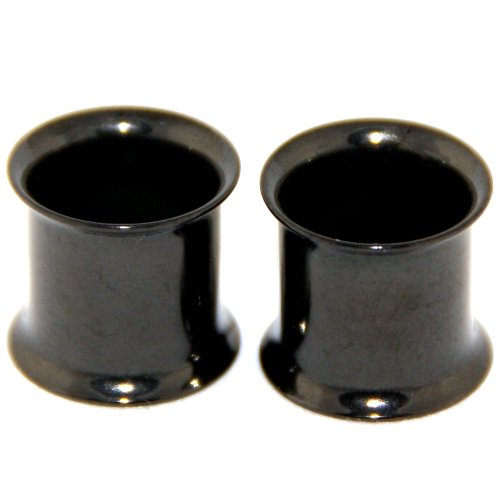 Anodized Black Sugical Steel Double Flare Tunnles Plugs Earlets 00G Gauge 10mm 1 Pair
