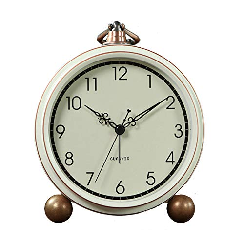JUSTUP Silent Table Clock, Retro Non-Ticking Desk Clock Battery Operated Alarm Clock Vintage Quartz Analog Clock for Bedrooms Living Room Decor Kids (C)