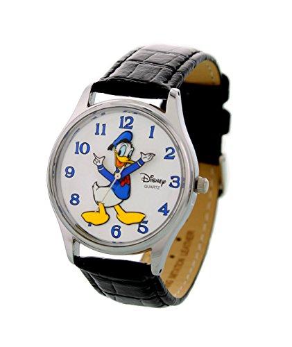 Disney Theme Park Exclusive Donald Duck Mens Watch Chrome Bezel Black Leather - Products Bezel Chrome
