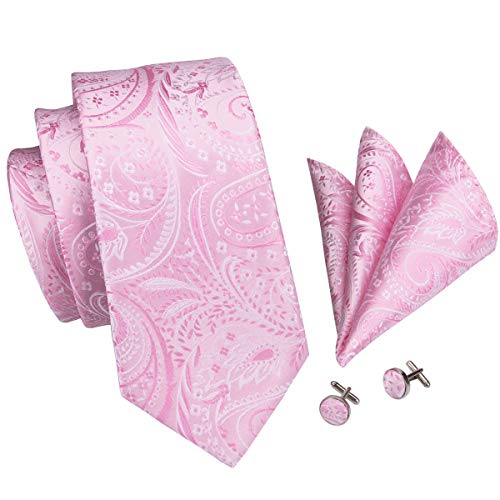 Hi-Tie Pink Floral Paisley Woven Silk Tie Pocket Square and Cufflinks set For Men Wedding ()