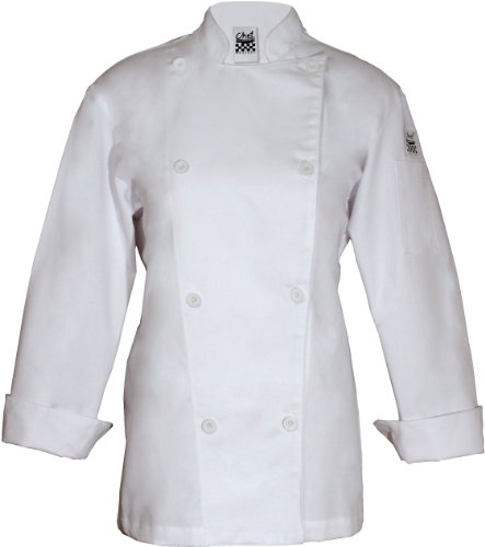 Chef Revival LJ027 Poly Cotton Ladies Knife and Steel Long Sleeve Jacket with White Chef Logo Button, 5X-Large, White by Chef Revival