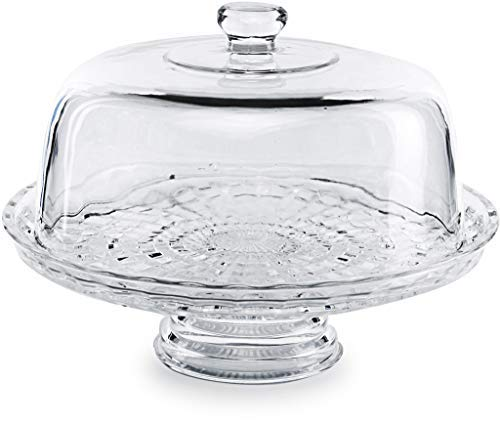 Circleware 54041 Chiffon Glass Cake Plate with Dome Home and Kitchen Glassware Entertainment Food Serving Platter Stand for Fruit, Ice Cream, Dessert, Salad, Cheese, Candy 12