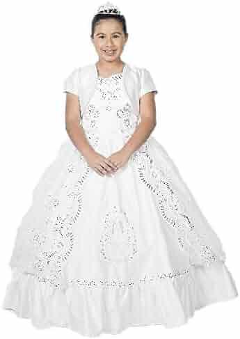 ea5b3d0b49ee Alegria Kids Big Girls White Off-Shoulder Virgin Mary Embroidered Bolero Communion  Dress 7-
