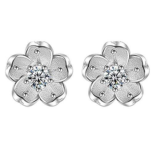 Windoson Fashion Zircon Anti-Allergic Cherry Blossoms Pendant Earrings Women Christmas Accessories Alloy Earrings (Silber)
