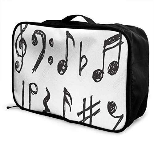 Lightweight Large Capacity Portable Luggage Bag Drawing Musical Notes Letters Travel Waterproof Foldable Storage Carry Tote Bag ()
