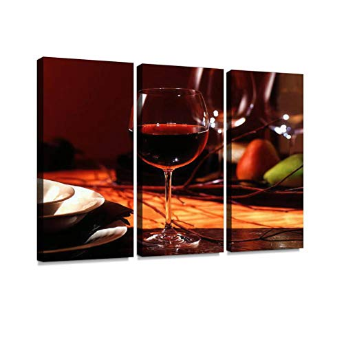 BELISIIS Red Wine on Fall Table Wall Artwork Exclusive Photography Vintage Abstract Paintings Print on Canvas Home Decor Wall Art 3 Panels Framed Ready to Hang