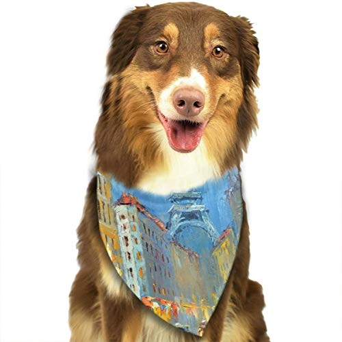 FRTSFLEE Dog Bandana Paris Night Artistic Signed Print Scarves Accessories Decoration for Pet Cats and -