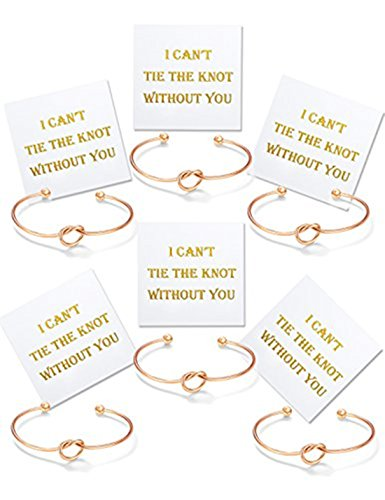 Bridal Party Jewelry Gifts - SwanElegant Bridesmaid Gifts-Tie The Knot Wedding Thank You Gift,Love Knot Bangle Bracelets Jewelry,Bridal Party Gift Sets,Bridesmaid Bracelets for Women Girls(Rose Gold-6pcs)