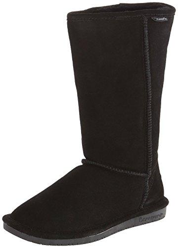 Bearpaw Womens Emma Tall 12-Inch Suede Sheepskin Boot, Black