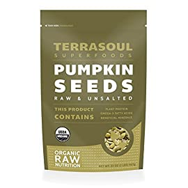 Terrasoul Superfoods Organic Pumpkin Seeds (Pepitas) 43 Terrasoul Superfoods Organic Pumpkin Seeds (Pepitas), 2 Pounds USDA Certified Organic, Non-GMO, Raw, Gluten-Free, Vegan Unsalted and 100% organic pumpkin seeds are good for your health and for any diet.