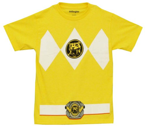 The Power Rangers Yellow Rangers Costume Adult T-shirt Tee,Medium -