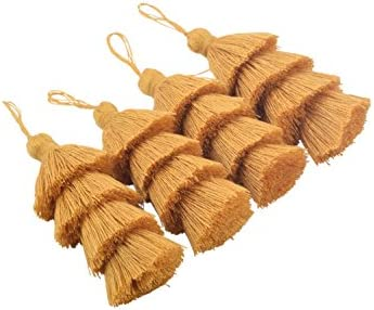 Beige 5 Layers Craft Jewelry Layered Tassels with Hang Loop KONMAY 2pcs 4.8 12.0cm