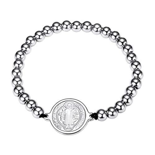 FaithHeart Saint Benedict of Nursia Patron Chain Bracelet Stainless Steel Bead Stretch Bracelet (Silver)