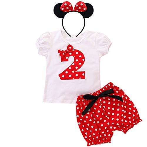Minnie Costume Baby Girls Birthday Outfit Short Sleeve T-Shirt Top+Polka Dot Pants+Ear Headband Toddler Little Princess Summer Shorts Clothes 3Pcs Set for Cake Smash Photo Shoot Party Red No.2 18-24M -