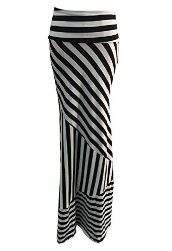 qiyushow de las mujeres Sexy rayas cintura alta paquete cadera Maxi Largo Faldas Vestidos Big Stripe