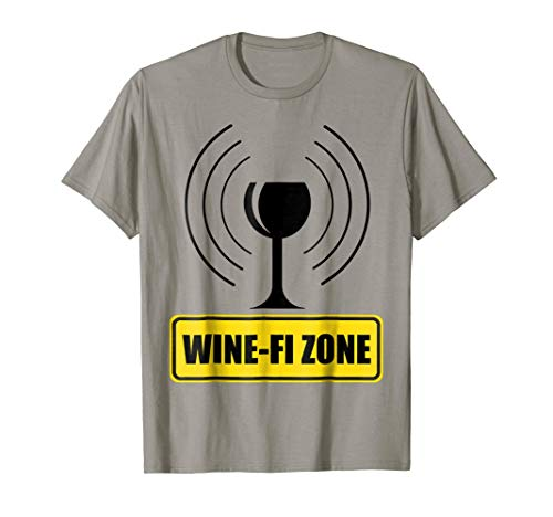 Wine - Fi Zone Funny Wine Glass WiFi Waves Yellow Road Sign T-Shirt