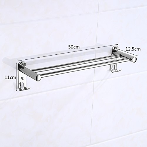 LVLIDAN Contemporary Towel bar Washroom rails stainless steel Double layer hooks wall mounted 50cm by LVLIDAN Towel Rail