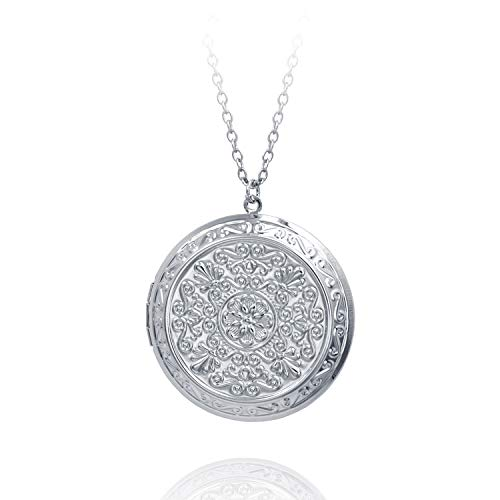Circle Lockets for Girls Locket Necklace That Holds Pictures Plus Size Big for Women Retro Flower 18""