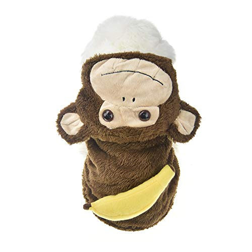 MUYAOPET Monkey Halloween Costume Outfits for Small Dog Funny Pet Coat Jacket Clothes in Cold Weather (S, Brown Monkey) ()