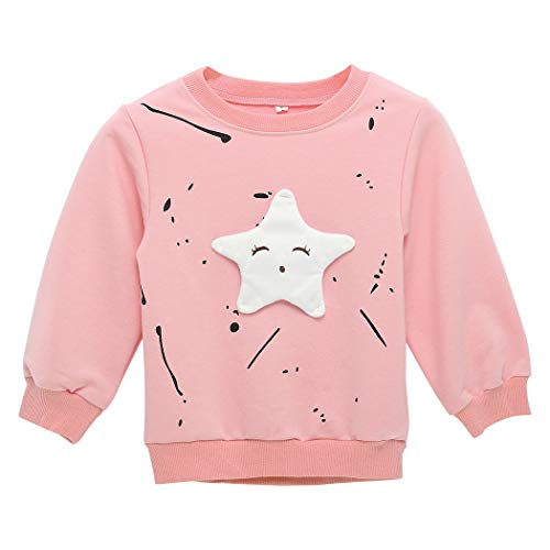 MIOIM Fashion Sweet Toddler Girls Cartoon Cute Star Long Sleeves T-Shirt Sweatshirt Tops Blouse (2T, Pink) ()