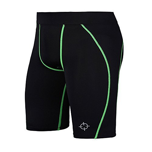 d2290e3dd05 Rigorer Men s Compression Tight Base Layer Short Pants Green Size M