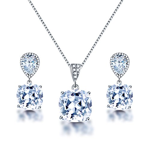 AMYJANE Wedding Jewelry Set for Bridesmaids - Elegant Sterling Silver Teardrop Clear Cubic Zirconia Crystal Rhinestone CZ Necklace Set for Bride Bridal Jewelry for Mother of Bride (Bridal Jewelry Swarovski Sets)