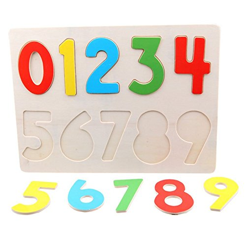 Child Wooden Number Math 0 - 9 Peg Puzzle Clutch Plate (9 Plate Clutch)