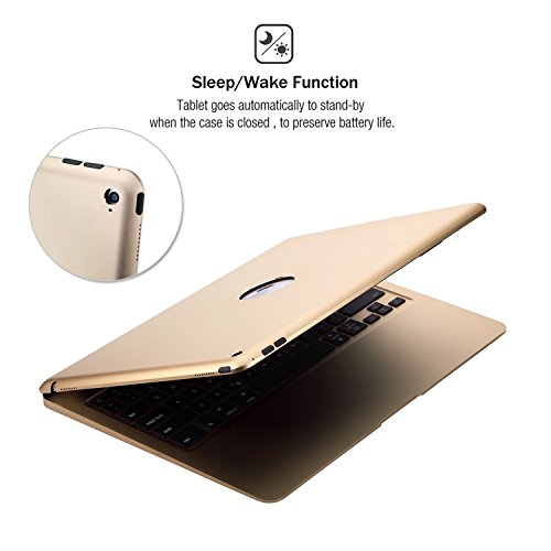 iPad Pro 12.9'' Aluminum Keyboard Case F07 with 7 Colors Backlight Backlit Wireless Bluetooth Keyboard & Power Bank (Gold) by myBitti (Image #4)