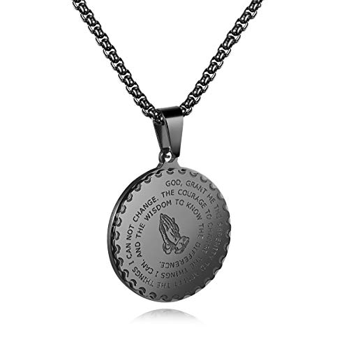 - MUZI Bible Verse Prayer Necklace with Free Chain Christian Jewelry Stainless Steel Praying Hands Coin Medal Pendant